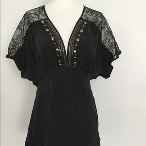 Silk & lace blouse w/ beaded embellishments